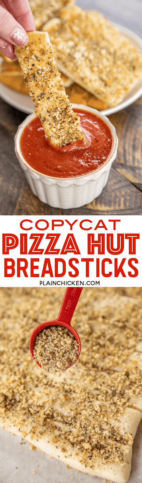 Copycat Pizza Hut Breadsticks - so easy to make and seriously delicious!!! Refrigerated pizza dough topped with parmesan cheese, garlic powder, salt, onion powder, oregano and basil. Dip in warm pizza sauce. Tastes just like the original! Ready to eat in under 20 minutes! #breadsticks #pizzahut #copycat