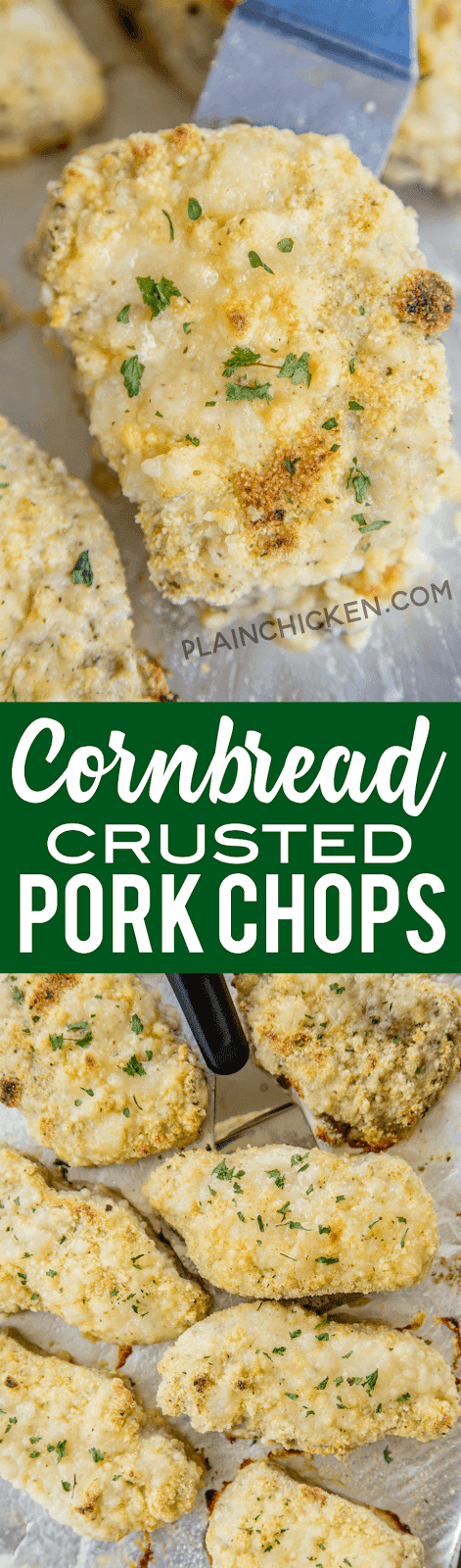 Cornbread Crusted Pork Chops - ready in under 30 minutes! Everyone LOVED these pork chops! Pork chops coated in cornbread mix and ranch dressing. The whole family cleaned their plate! This easy weeknight recipe is going into the dinner rotation!