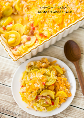 Cornbread Crusted Squash Casserole - so delicious!!! Easy homemade squash casserole topped with a cheddar and cornbread crust. Everyone went back for seconds. Onion, Squash, pimentos, bacon, cornbread and cheddar cheese. Can make ahead of time and refrigerate until ready to bake. Great side dish recipe for potlucks and cookouts.