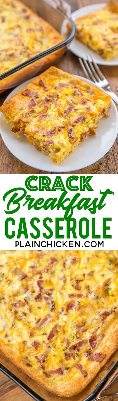 Crack Breakfast Casserole - crazy good! We are totally addicted to this easy breakfast casserole!! Crescent rolls, bacon, cheddar, ranch dressing, eggs and milk. Can make ahead of time and refrigerate overnight. SO good. We made this two days in a row! #breakfast #casserole #bacon #cheddar #breakfastrecipe
