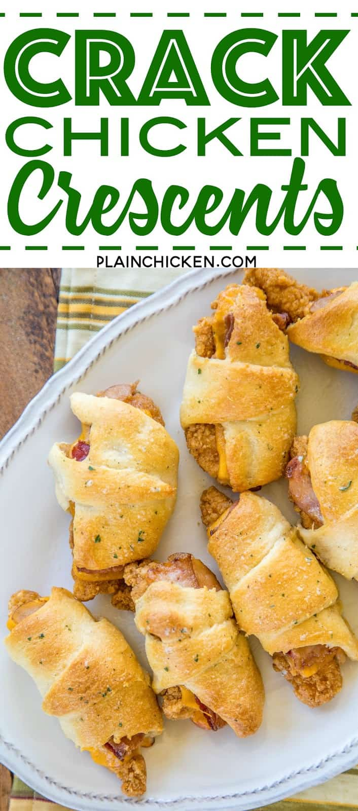 Crack Chicken Crescents - frozen chicken tenders, cheddar cheese, bacon and ranch dressing wrapped in refrigerated crescent rolls and baked. CRAZY good!!! Everyone cleaned their plate and went back for seconds! A HUGE hit with the entire family! Great for a quick lunch, dinner or tailgating! No prep work and ready to eat in under 30 minutes! YUM! #quick #easy #weeknightmeal