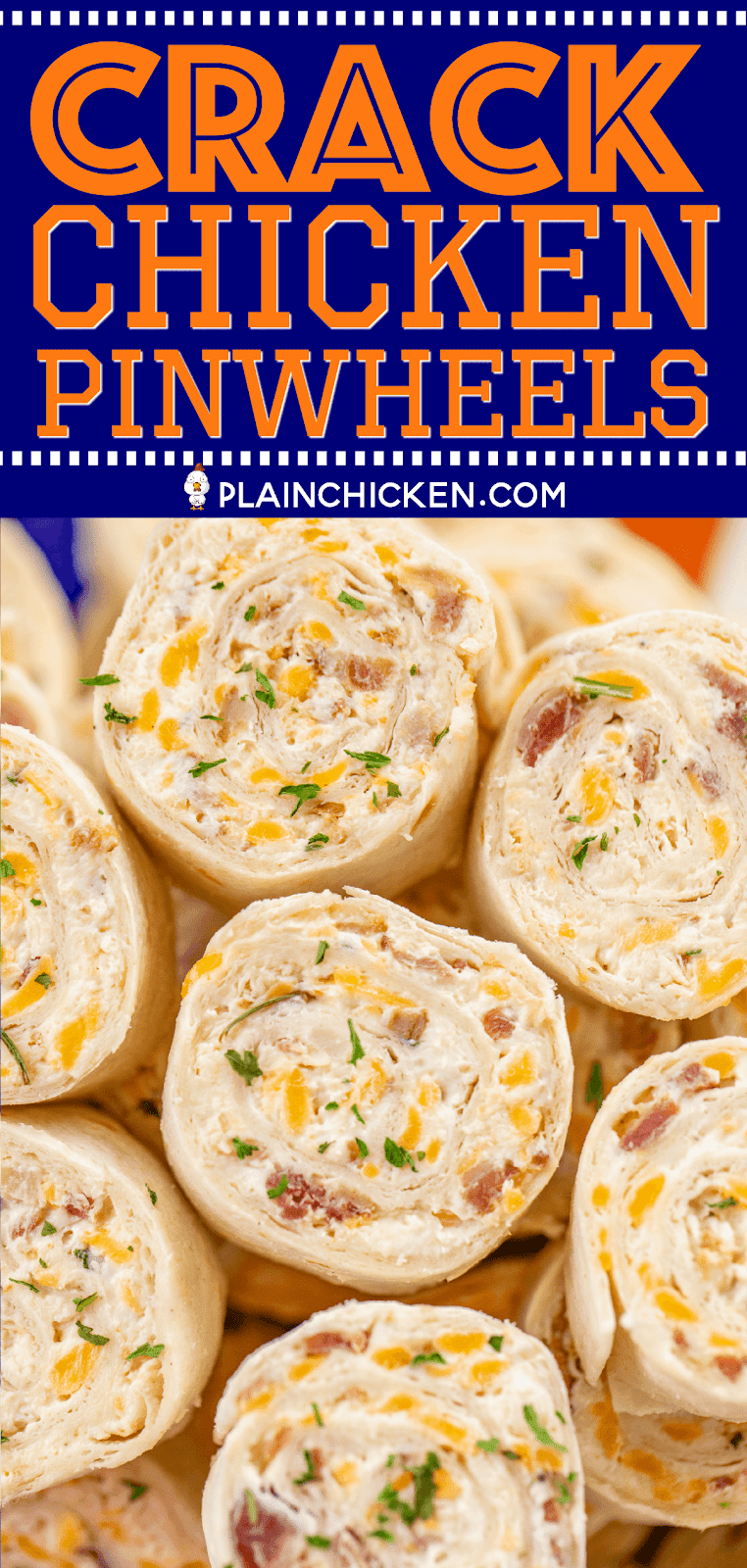 Crack Chicken Pinwheels - I am ADDICTED to these sandwiches! Cream cheese, cheddar, bacon, ranch and chicken wrapped in a tortilla. So simple to make with rotisserie chicken and precooked bacon. Can make ahead of time and refrigerate until ready to eat. Perfect for parties and tailgating!! #pinwheels #chicken #tailgating #bacon #sandwich #partyfood