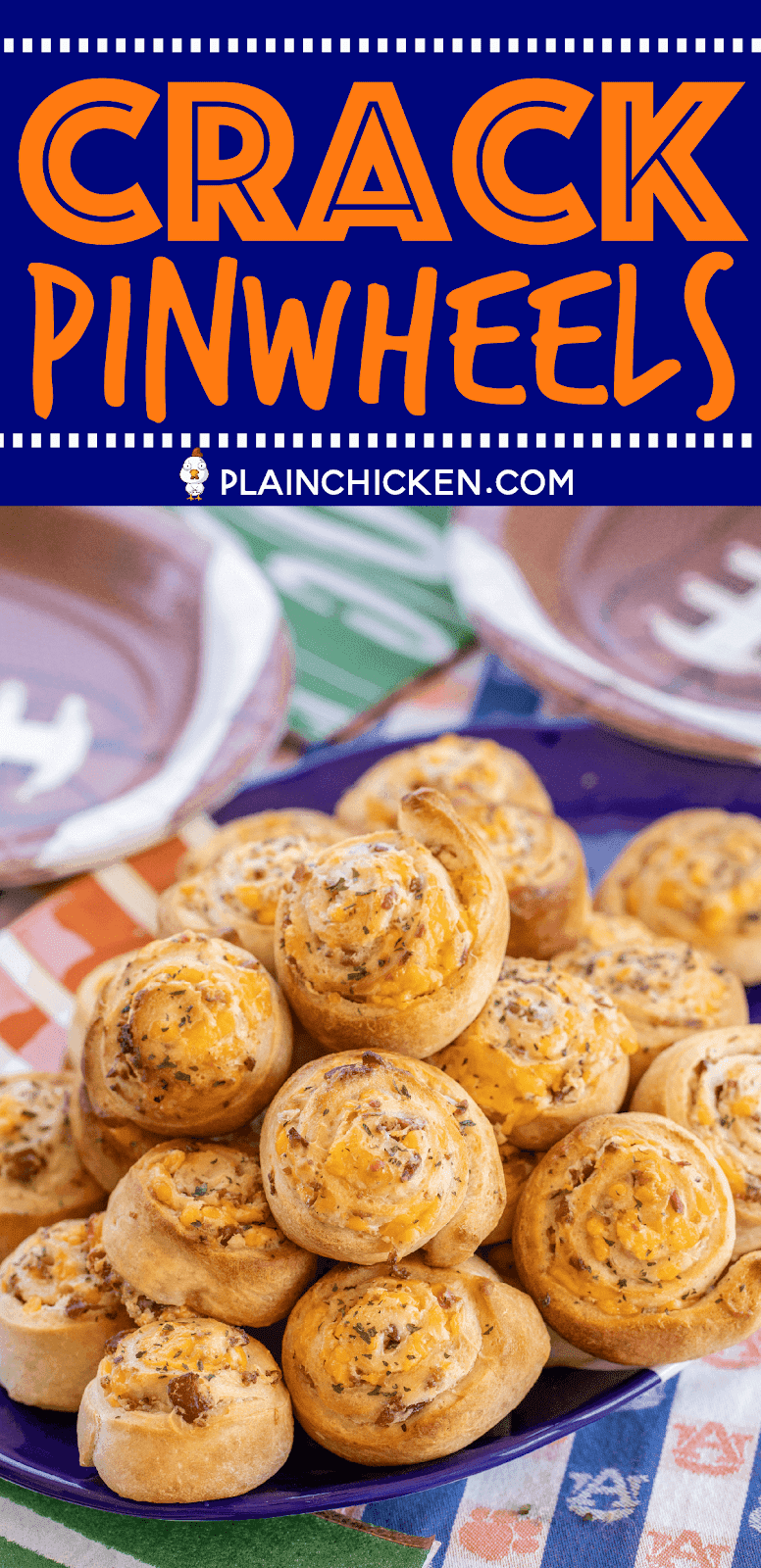 Crack Pinwheels - SO addictive!!! Ranch seasoning, cream cheese, cheddar cheese, and bacon baked in pizza dough - I could eat the whole batch! Great as an appetizer or with soup or stew. Tastes great hot out of the oven or at room temperature. These cheesy bread pinwheels don't last long! #cheddar #bacon #ranch #tailgating #tailgatingrecipes #bread #appetizer