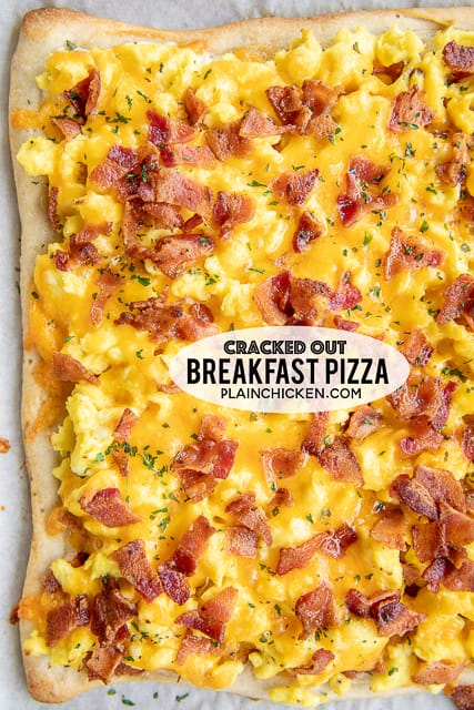 Cracked Out Breakfast Pizza - loaded with cheddar, bacon and Ranch! SO GOOD!!! Easy enough for a weekday breakfast. Refrigerated pizza crust topped with ranch dressing, scrambled eggs, bacon and cheddar cheese. We love this for breakfast, lunch and dinner. This is the most requested breakfast in our house. There are never any leftovers!! #breakfast #pizza #eggs #bacon #cheese