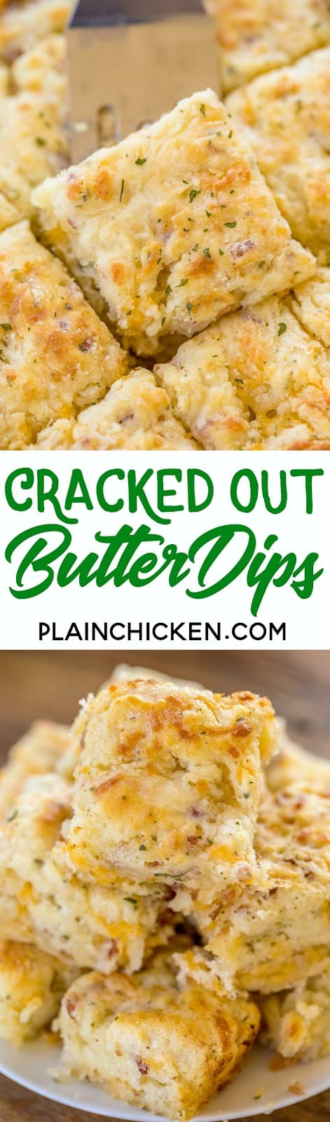 Cracked Out Butter Dips - biscuits loaded with cheddar, bacon and ranch! Only 8 simple ingredients! You probably have them in your pantry right now! No-kneading at all! Just mix dough together and pat down in pan. Ready in under 15 minutes! Everyone RAVES about these easy biscuits!! Great with dinner or for breakfast. YUM! #biscuits #bacon #breadrecipes