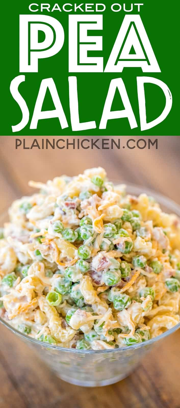 Cracked Out Pea Salad - Macaroni and green peas tossed in mayonnaise, cheddar, bacon and ranch. Seriously delicious!!! Great for potlucks or a side dish with a sandwiches. Great for all your spring and summer cookouts! Can make ahead and refrigerate until ready to serve. It has become our favorite pasta salad recipe!! #pastasalad #sidedish #bacon #ranch