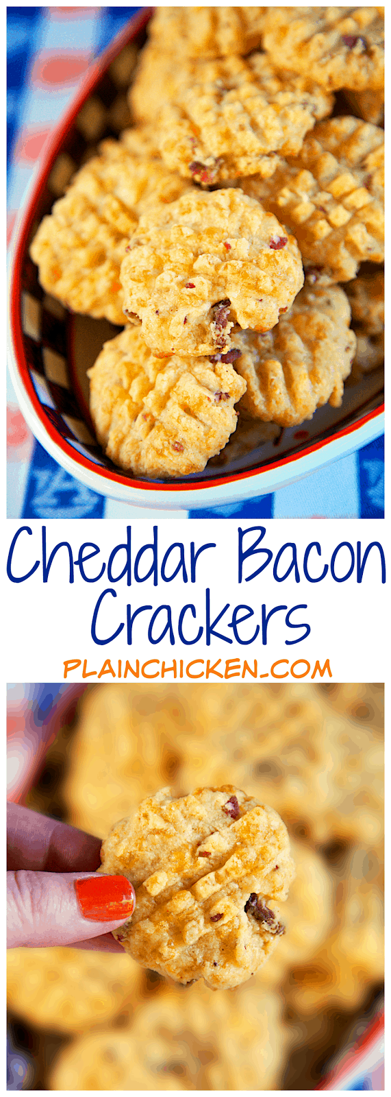 Cheddar Bacon Crackers - quick homemade bacon and cheddar cheese crackers. Use your food processor and the dough is ready in a minute! The recipe makes about 4 1/2 dozen - perfect for a party! They are always the first thing to go!