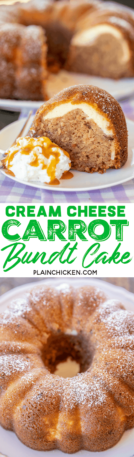 Cream Cheese Carrot Bundt Cake - only a few simple ingredients make this delicious cake. Cake with a can of frosting in the batter. Carrot cake mix, water, oil, eggs, a can of coconut pecan frosting, cream cheese and sugar. I couldn't believe how delicious this cake tasted. Can make a few days in advance and store in an air-tight container. Great for holidays and potlucks! #cake #carrotcake #dessert