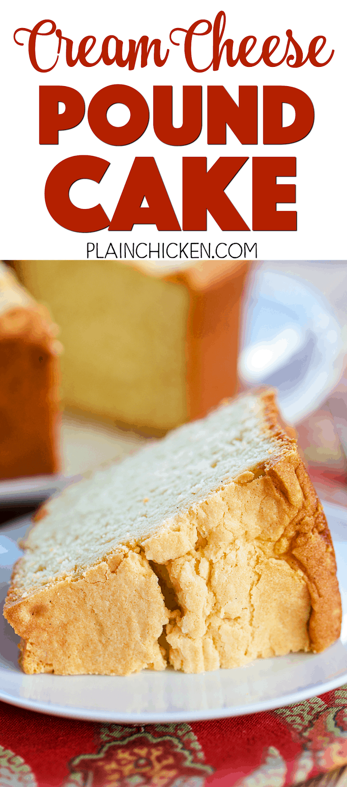 Cream Cheese Pound Cake - INCREDIBLE! So simple, yet so delicious! Butter, cream cheese, sugar, eggs, flour, vanilla. Serve with vanilla ice cream. Great for holiday meal dessert. Also makes a great homemade holiday gift!
