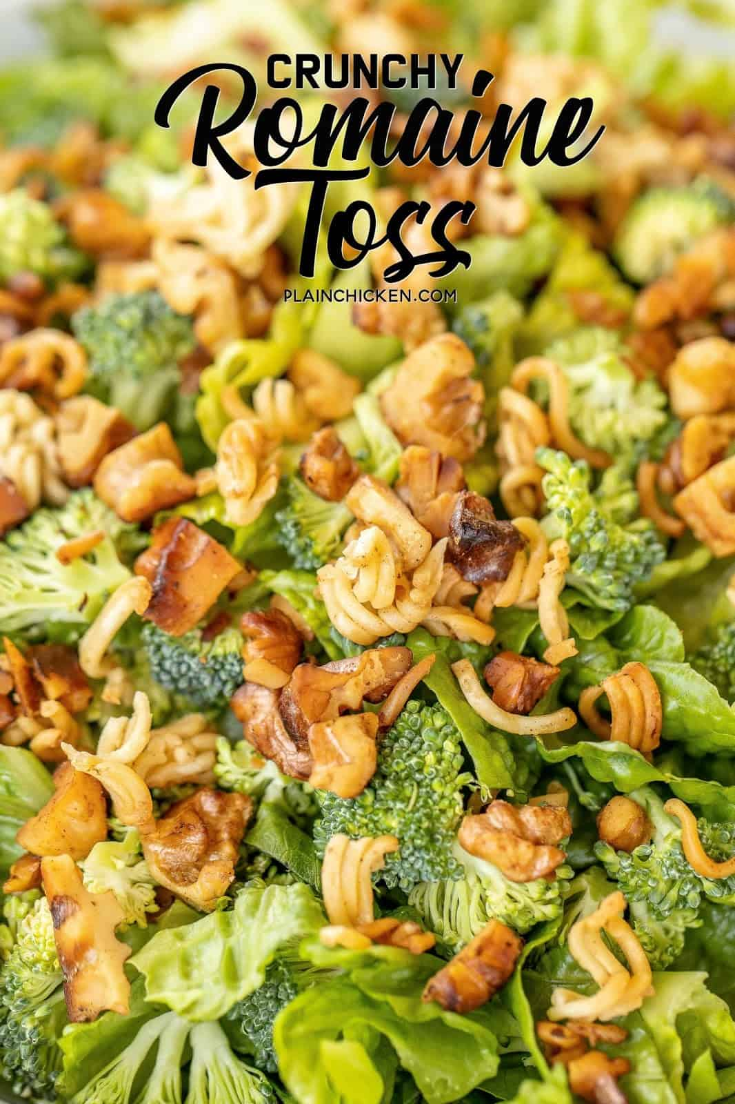 Crunchy Romaine Toss - CRAZY GOOD!!! Had this at a dinner party and everyone raved about it. I had to get the recipe so I could make it at home. SO easy to make and it tastes DELICIOUS!!! Romaine lettuce, broccoli, ramen noodles, butter, walnuts, red wine vinegar, vegetable oil, soy sauce, sugar, salt and pepper. Great for dinner parties and potlucks! We make this at least once a month! SO good! #salad #sidedish #vegetables #romainelettuce #broccoli