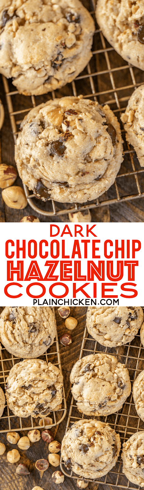 Dark Chocolate Chip Hazelnut Cookies - dangerously delicious! Crunchy on the outside and chewy on the inside - perfect!!! Can make dough ahead of time and freeze for a quick sweet treat later. Bisquick, brown sugar, white sugar, butter, egg, vanilla, dark chocolate chips, hazelnuts. These things FLY off the plate. All you need is a glass of milk and you are set! SO good! #cookies #bisquick #hazelnuts