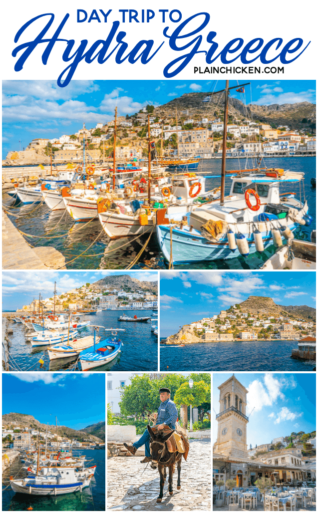 Day Trip to Hydra Island, Greece - this beautiful Greek island is nestled in the Aegean Sea. There are no cars - the only modes of transportation are walking, bicycles and donkeys! This is one of the most beautiful towns in Greece. A MUST on your trip! #greece #travel #eurpoe #hydra