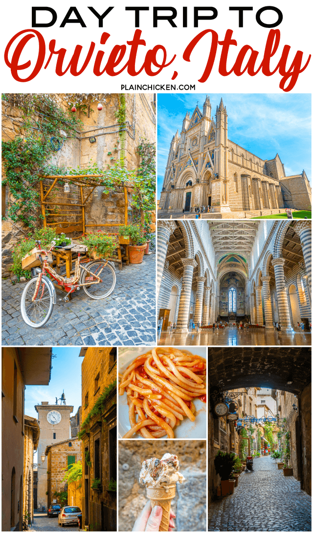Day Trip to Orvieto Italy with Adventures by Disney - cute Italian town between Rome and Tuscany. Great place to explore and grab lunch. The Orvieto Cathedral is one of the most beautiful and unique churches in all of Europe. Definitely want to check it out! #italy #travel #europe #orvieto
