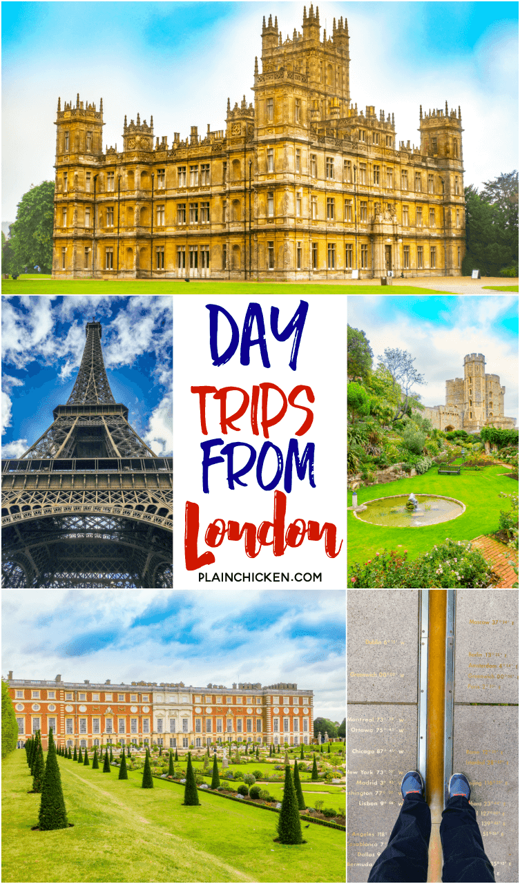 MUST TAKE Day Trips from London - Highclere Castle (Downton Abbey), Paris, Hampton Court Palace, Windsor Castle and Greenwich Prime Meridian. Find out how to get there and what to do!