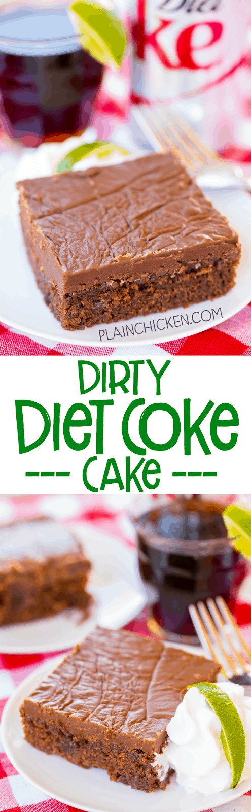 Dirty Coke Cake - our favorite drink in cake form! Homemade buttermilk chocolate cake and fudge frosting spiked with coconut and lime. SO good! Great for a potluck and tailgate party! A CRAZY delicious cake recipe!