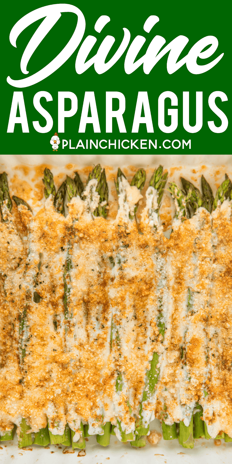 Divine Asparagus - only 4 ingredients! Asparagus, mayonnaise, parmesan cheese and paprika. Can add garlic salt too. Ready to eat in 20 minutes. We make this at least once a week! Our FAVORITE asparagus recipe!! #sidedish #asparagus #veggie