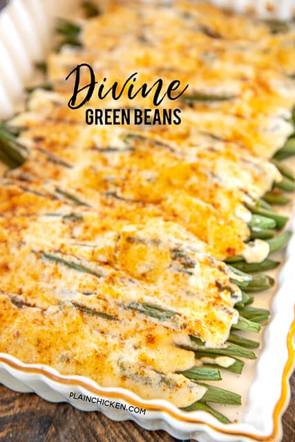baking dish of green beans