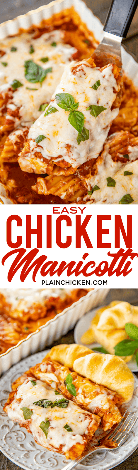Easy Chicken Manicotti - so easy and seriously delicious! Everyone loved this easy pasta casserole and asked for seconds! YES! Manicotti noodles, chicken tenders, spaghetti sauce, water, garlic, Italian seasoning and mozzarella cheese. No need to boil the noodles or cook the chicken - it all bakes in the casserole dish. A family favorite! #pasta #casserole #manicotti #chickenrecipe