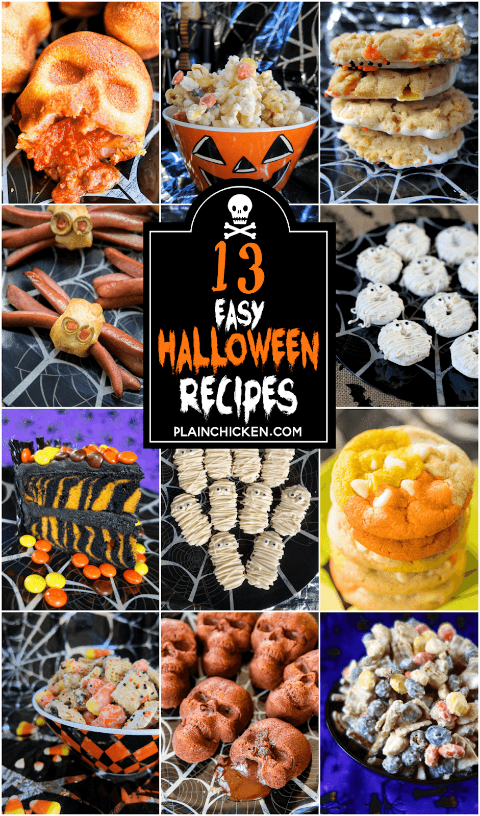 collage of 13 Halloween recipes