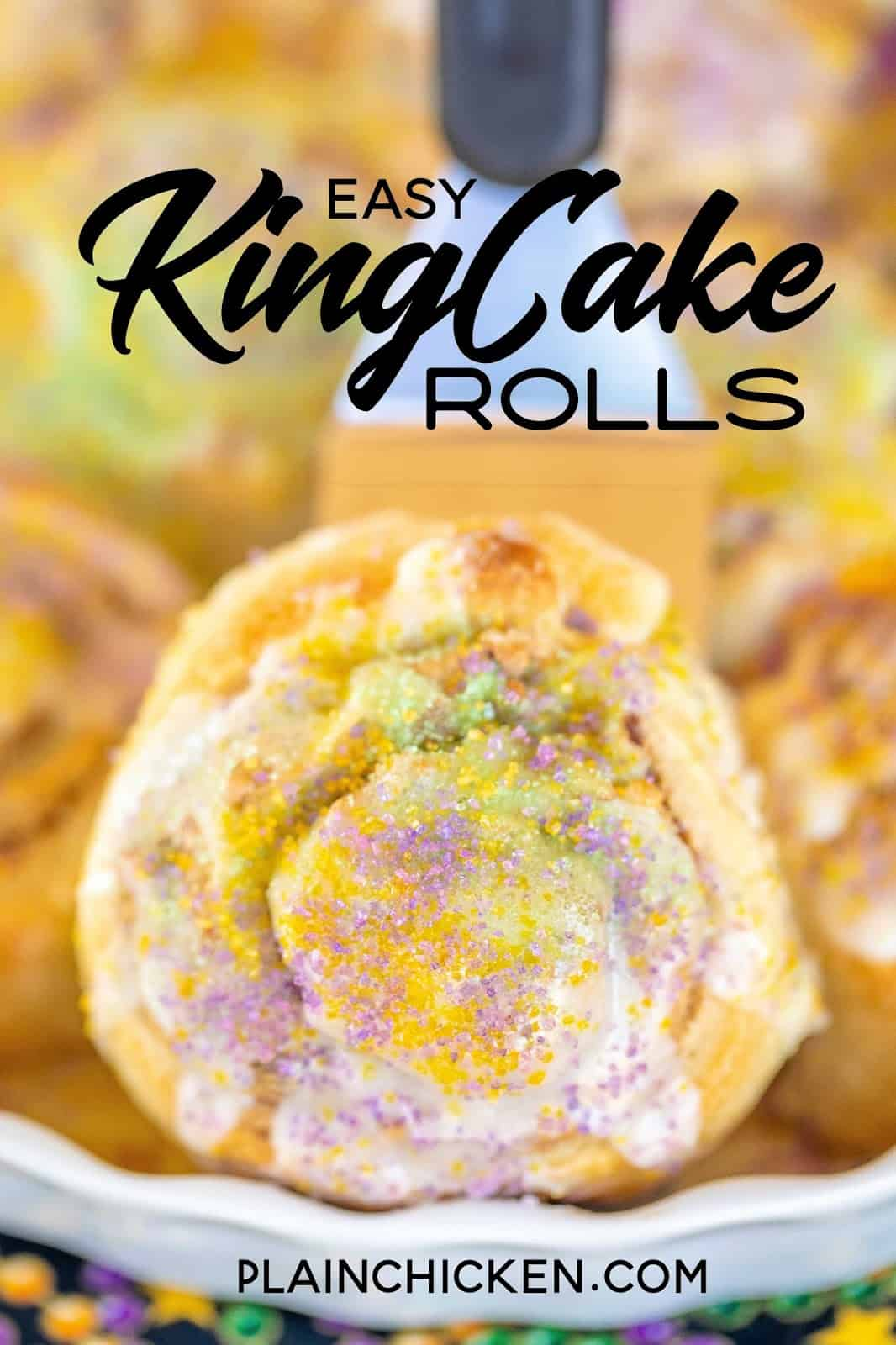 king cake roll on a spatula