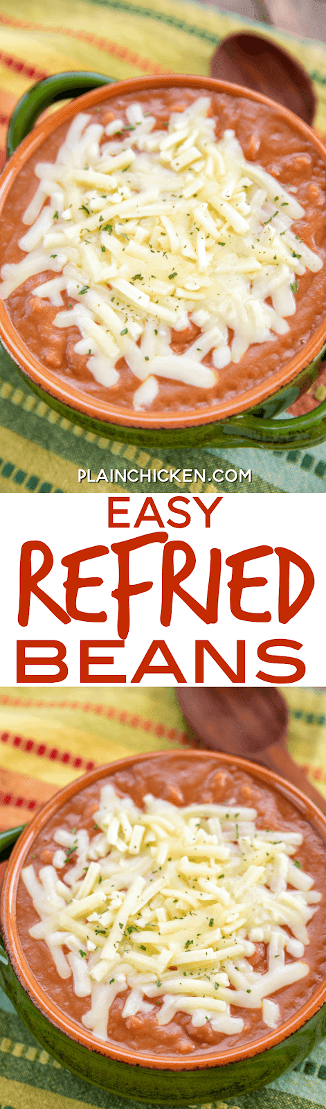 Easy Refried Beans - only 4 ingredients! Refried beans, pinto beans, salsa and Monterey Jack cheese. Seriously delicious! Ready in 10 minutes!! Great as an easy side dish or a dip. Even my refried bean haters LOVED these beans! YUM! #beans #sidedish #mexican #easysidedish