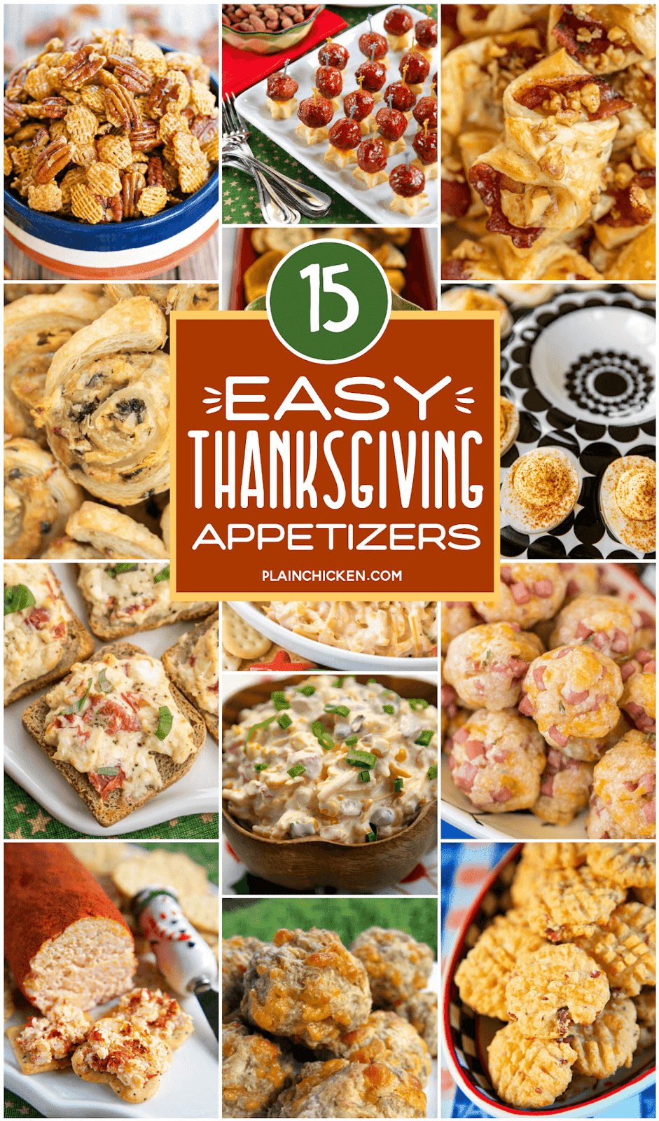 collage of 15 appetizer recipes