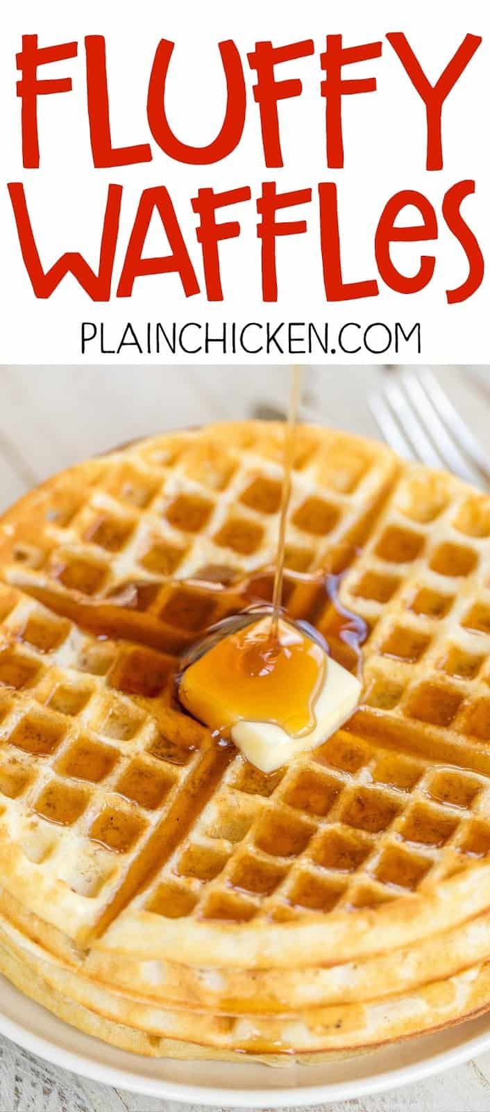 Fluffy Waffles - seriously the most DELICIOUS waffles EVER!!! Better than the Waffle House! I promise!! SO easy to make. Can freeze leftover waffles for a quick breakfast later. Flour, baking powder, salt, eggs, milk and oil. Just add butter and maple syrup for a delicious breakfast!
