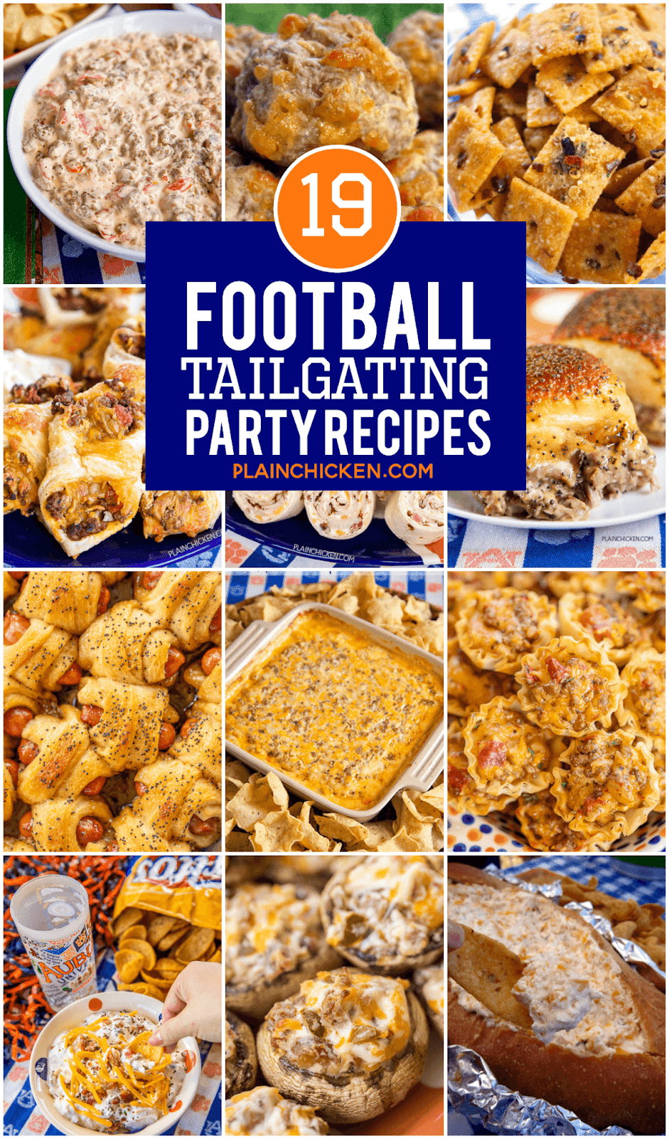 collage of tailgating recipes for football season