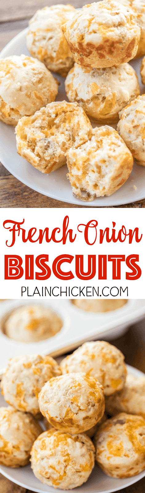 French Onion Biscuits - only 5 ingredients! The hardest part of making these biscuits is resisting the urge to snack on the French fried onions while making the batter! Bisquick, cheddar cheese, French fried onions, eggs and milk. SO easy and they taste great!!! Great for any night of the week!