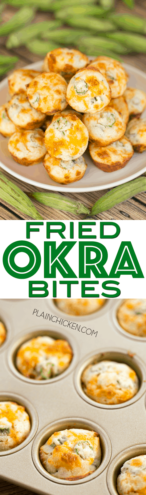 Fried Okra Bites - OMG! SO good! Quick homemade cornbread muffins with cheese and fresh okra. Great for parties and an easy side dish. Only 5 ingredients - self-rising cornmeal, buttermilk, oil, cheddar cheese, fresh okra. Ready in about 10 minutes!!