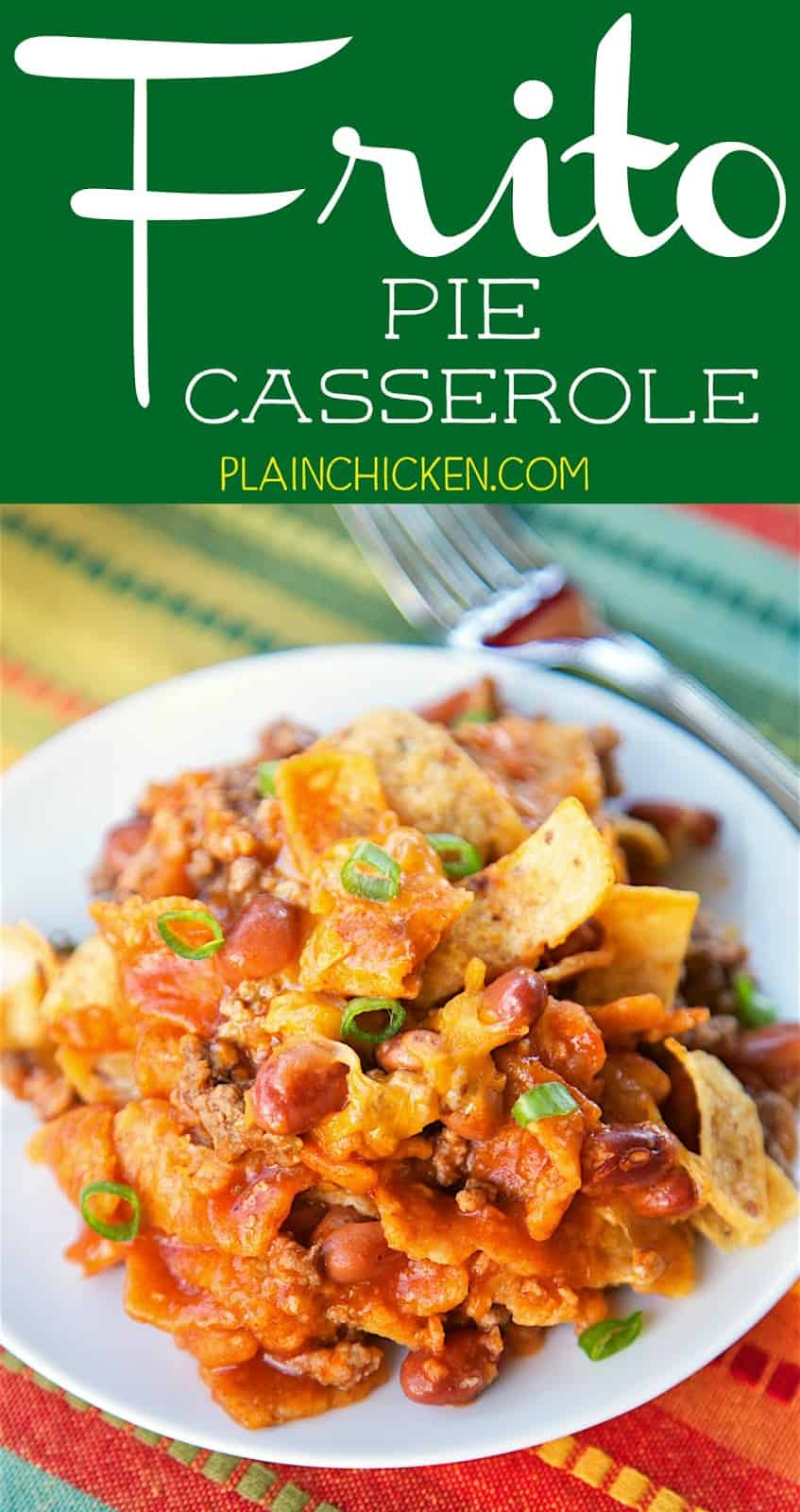 Frito Pie Casserole - everyone LOVED this recipe! Ground beef, onion, Ranch Beans, Enchilada Sauce, Fritos and Cheese. Great for a potluck and tailgating! Took this to a party and it was gone in a flash!