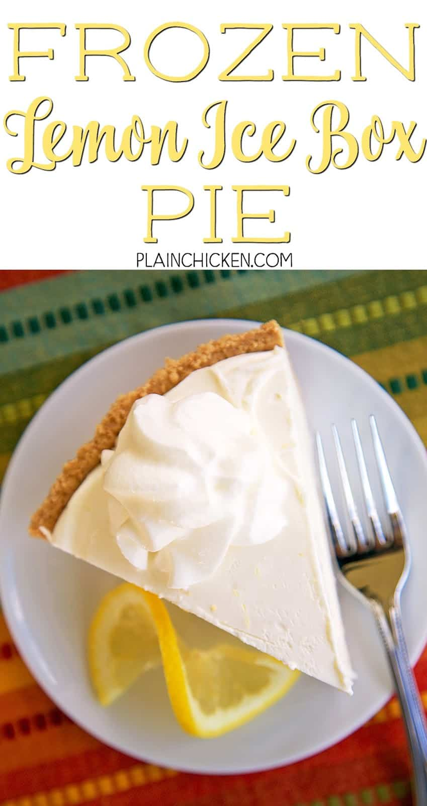 Frozen Lemon Ice Box Pie - only 4 ingredients! A store-bought graham cracker crust filled with a no churn lemon ice cream made with lemons, heavy cream and sweetened condensed milk. Only takes a minute to make and it tastes amazing! Fantastic lemon flavor! I made this for a party and it was gone in a flash! Everyone asked for the recipe!!