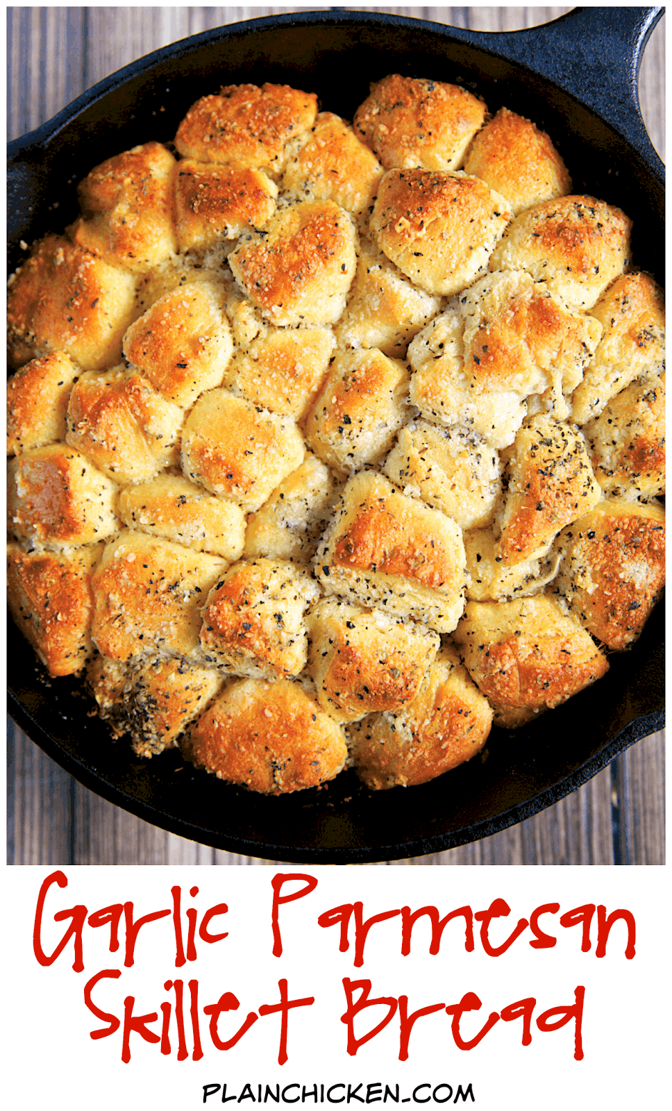 Garlic Parmesan Skillet Bread - refrigerated biscuits chopped and tossed in butter, garlic, italian seasoning and parmesan cheese. Baked in a small iron skillet. Great with pasta. Can also use as an appetizer with some warm pizza sauce. YUM!! I can make a meal out of this yummy bread!