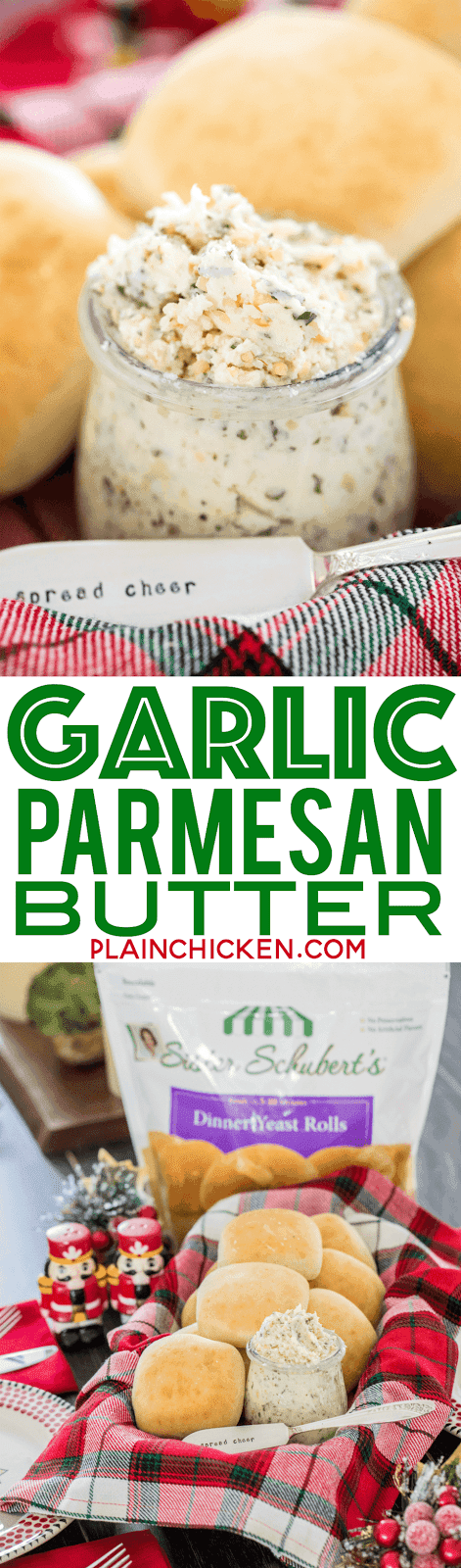 Garlic Parmesan Butter - only 6 ingredients. Butter, garlic, parsley, Italian seasoning, pepper and parmesan cheese. Perfect accompaniment to Sister Schubert's Dinner Yeast Rolls. Whip up a batch of butter while the rolls bake! Also makes a great homemade gift! #butter #garlic #garlicbutter #sisterschuberts