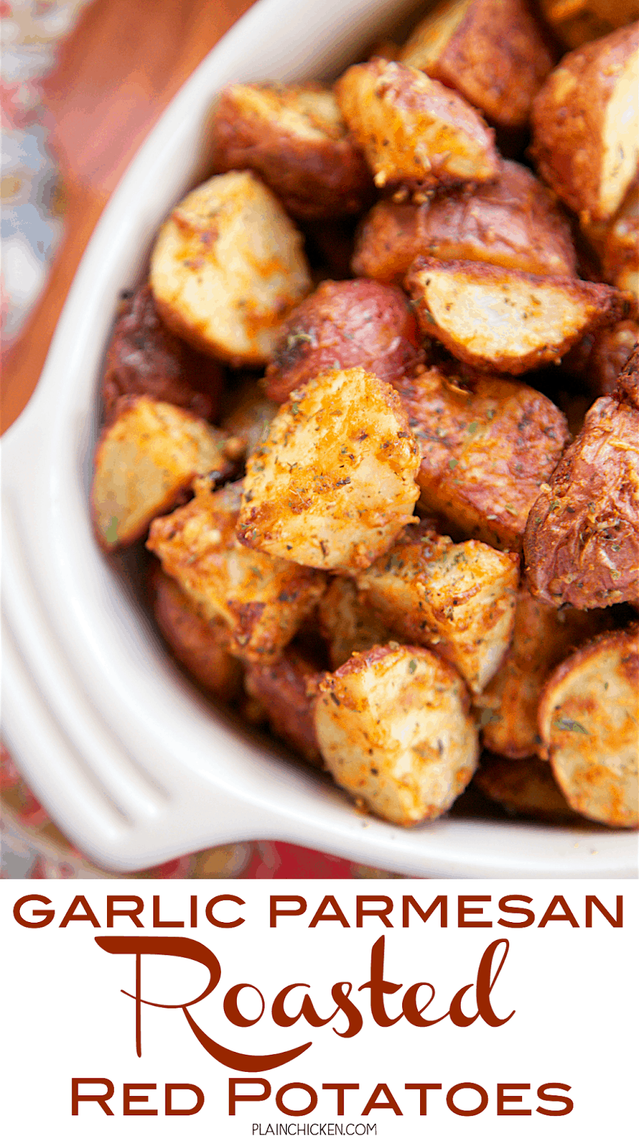 Garlic Parmesan Roasted Red Potatoes - red potatoes tossed in garlic, onion, paprika, Italian seasoning and parmesan cheese - SO delicious! A super quick and easy side dish. Ready for the oven in minutes! Great with burgers, chicken, steak and pork. The whole family loves these yummy potatoes!