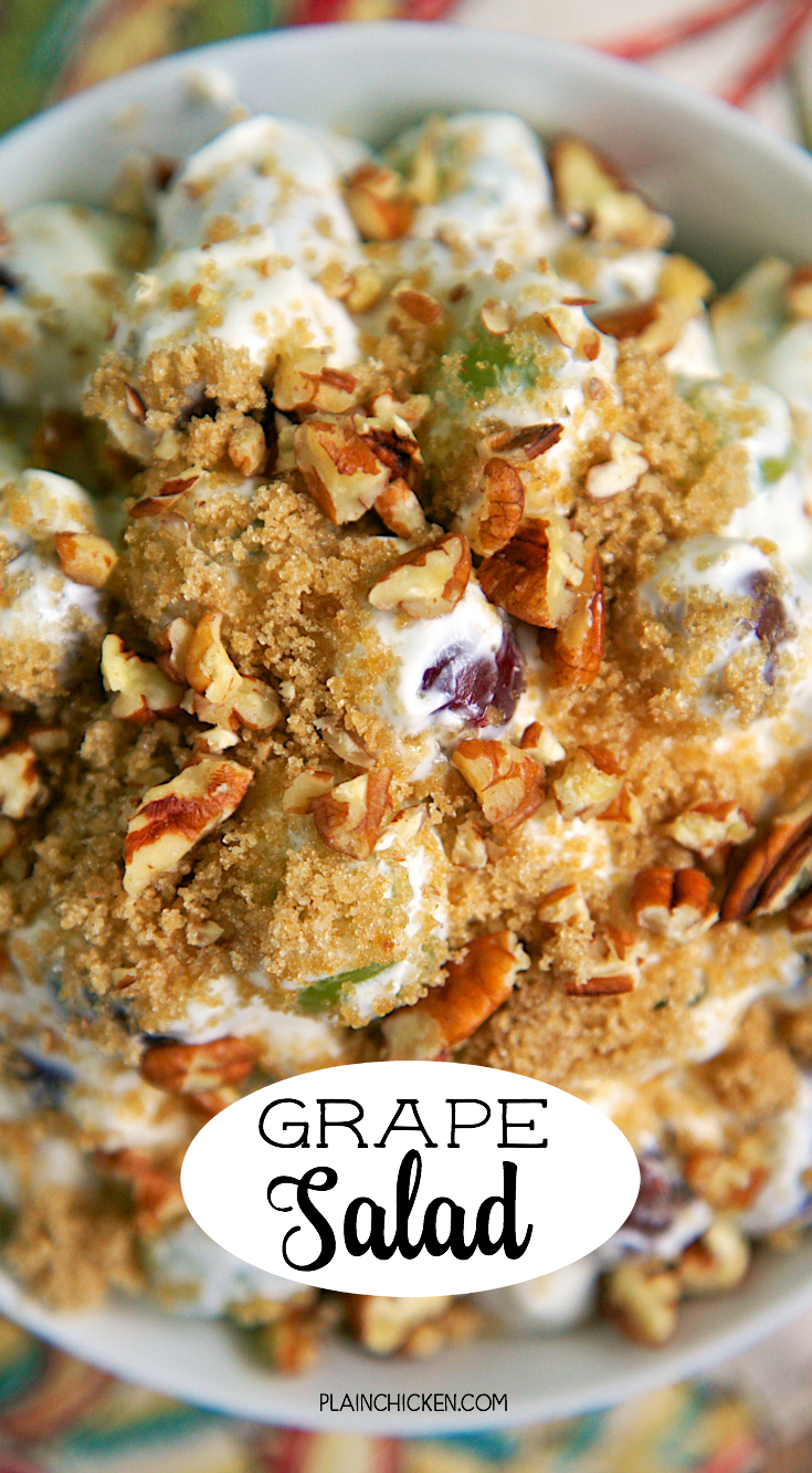 Copycat Chicken Salad Chick Grape Salad -  this stuff is like crack. It is SO good! Cream cheese, sugar, vanilla, sour cream and grapes topped with brown sugar and pecans. Perfect for a crowd - brunch, baby shower, office potluck, cookout, tailgating, holiday breakfast. SO easy and CRAZY good! Can make ahead and refrigerate.
