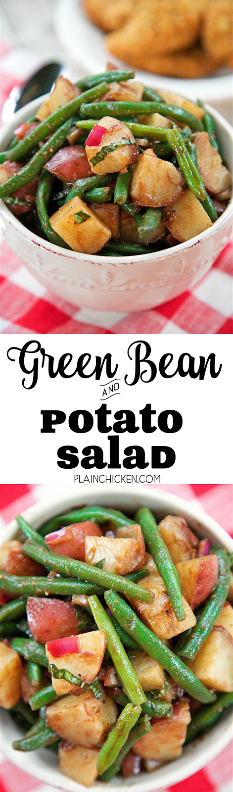 Green Bean and Potato Salad with Balsamic Vinaigrette - takes about 20 minutes to make! Can serve warm or cold. Green beans, red potatoes, red onion, basil, olive oil, balsamic vinegar, dijon mustard, lemon juice, worcestershire sauce and garlic. Great side dish for summer cookouts! Everyone loved it!
