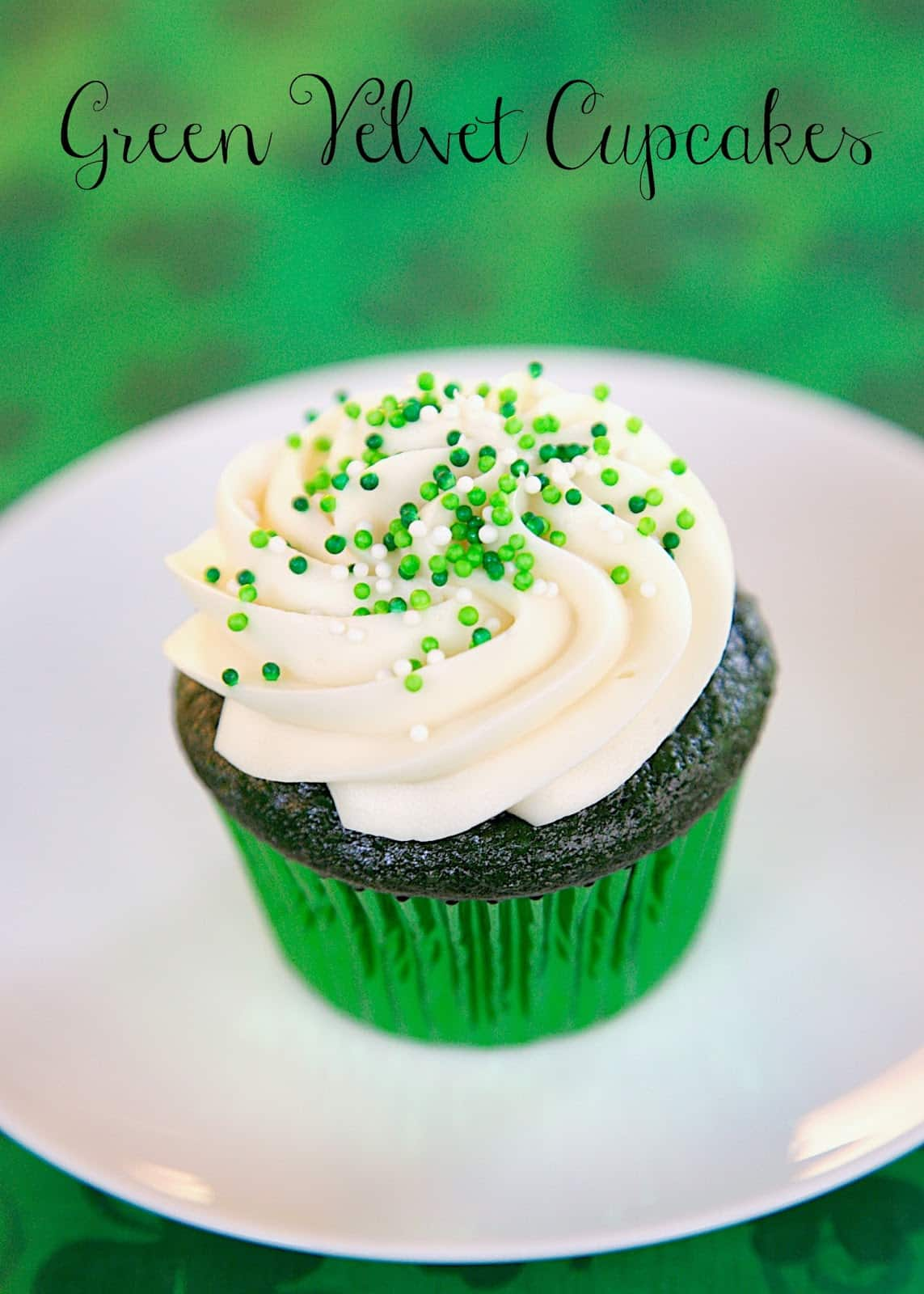 Green Velvet Cupcakes with Cream Cheese Frosting - cupcakes made with cake mix, buttermilk, green food coloring and topped with homemade cream cheese frosting. Perfect for St. Patrick's Day!