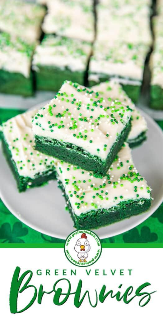 Green Velvet Brownies on a plate
