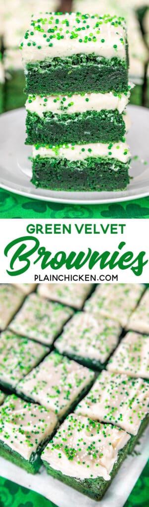 green velvet brownies stacked on plate