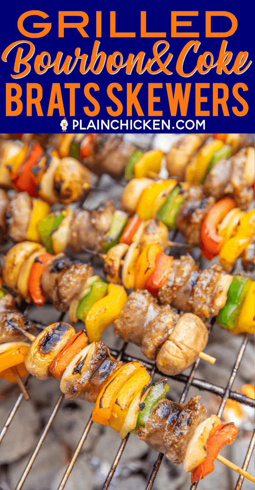 Grilled Bourbon & Coke Brats Skewers - SO good! Perfect party food!! Brats, onions, bell peppers and mushrooms marinated in bourbon, coke, soy sauce, brown sugar, seasoned salt and a little cayenne. Can assemble ahead of time and throw on the grill when you are ready to eat. These were a HUGE hit at our last tailgate. NO leftovers! A must for your next tailgate #tailgating #brats #grilling #partyfood