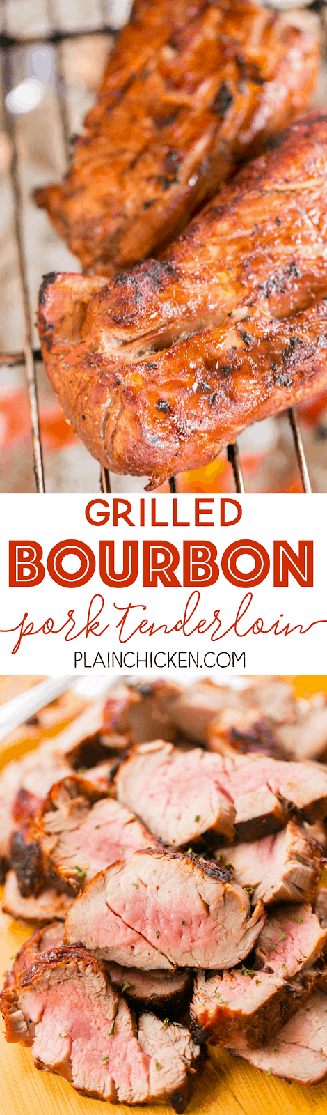 Grilled Bourbon Pork Tenderloin - better than any restaurant!!! We LOVED this pork! Pork tenderloins marinated in bourbon, brown sugar, soy sauce, Worcestershire, lemon juice, and garlic. Can use marinade on chicken and steak too. Everyone LOVES this easy marinade recipe. We make this at least once a month. SO good!