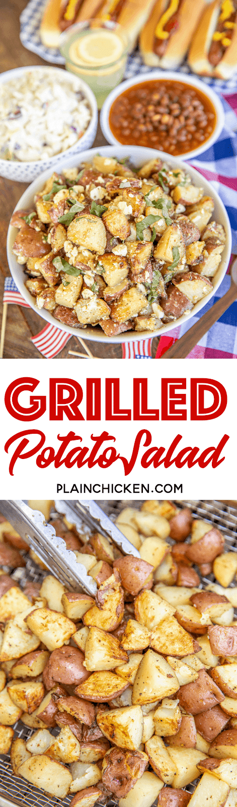 collage of 2 photos of grilled potato salad in a bowl