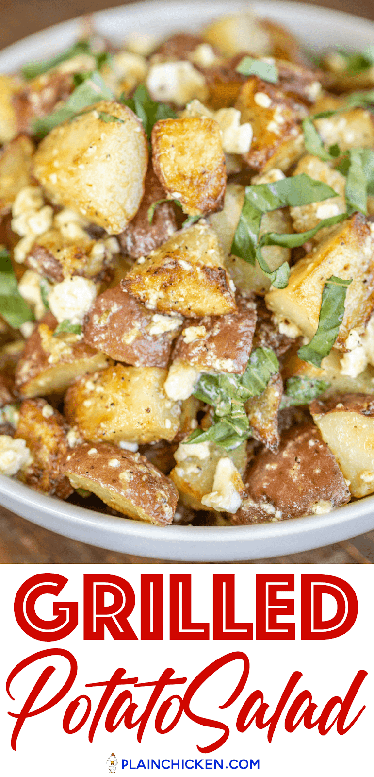 grilled greek potato salad in a bowl