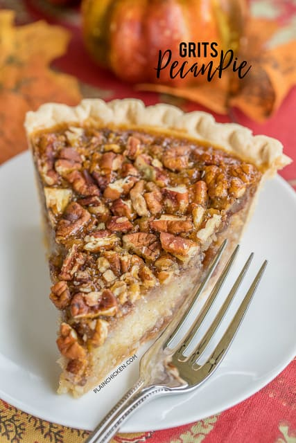 Grits Pecan Pie - CRAZY good!!!! Pecan pie with grits mixed into the filling. Sounds weird, but this is THE BEST pecan pie EVER!! Everyone raves about this pie! The grits give the filling a good texture - kind of like an oatmeal cookie. Give this a try for your next holiday meal! #pecanpie  #pecanpierecipe #dessertrecipe #pierecipe #thanksgiving #gritsrecipe #thanksgivingrecipe #christmas #christmasrecipe #grits