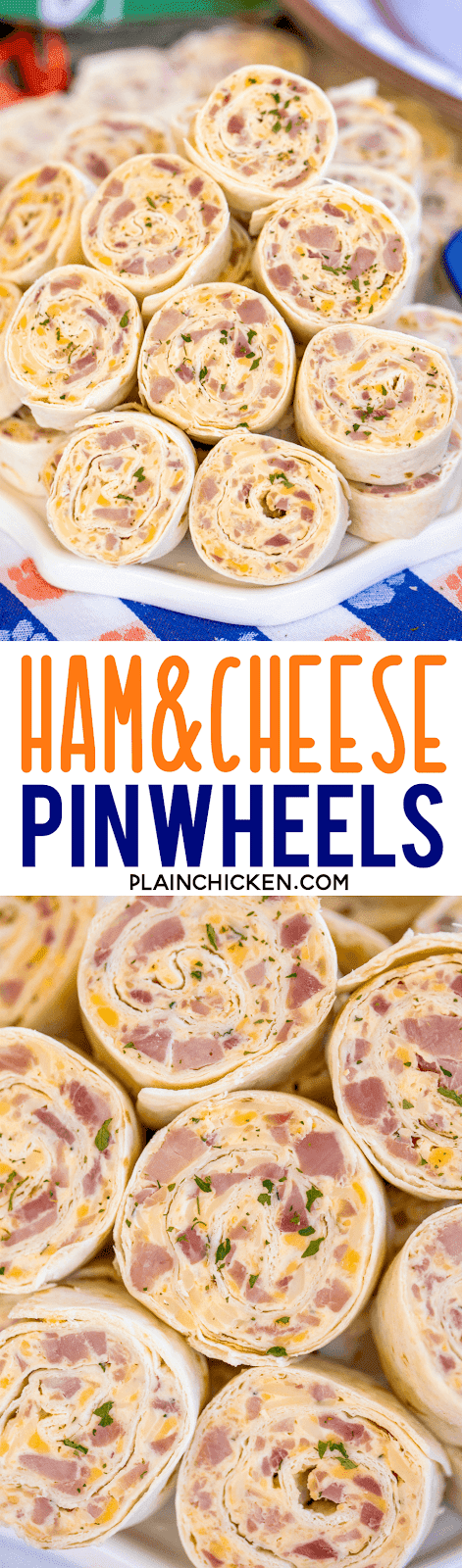 collage of two photos of ham and cheese tortilla pinwheels