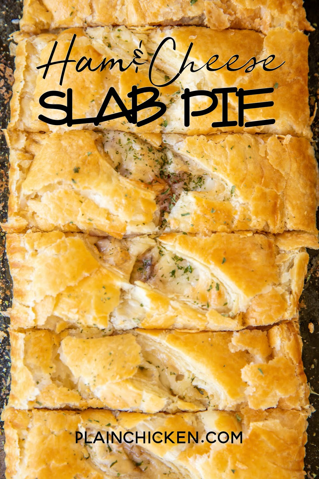 Ham & Cheese Slab Pie - delicious hot ham and cheese puff pastry sandwiches. Only a few simple ingredients - ham, swiss cheese, cream cheese, honey mustard and puff pastry. Brush pies with an egg wash to get a nice golden color. We love these for breakfast, brunch, lunch and dinner. Can make in advance and freeze unbaked for later! A great alternative to plain ham and cheese sandwiches! #puffpastry #ham #cheese #freezermeal #sandwich #bakedsandwich #slabpie