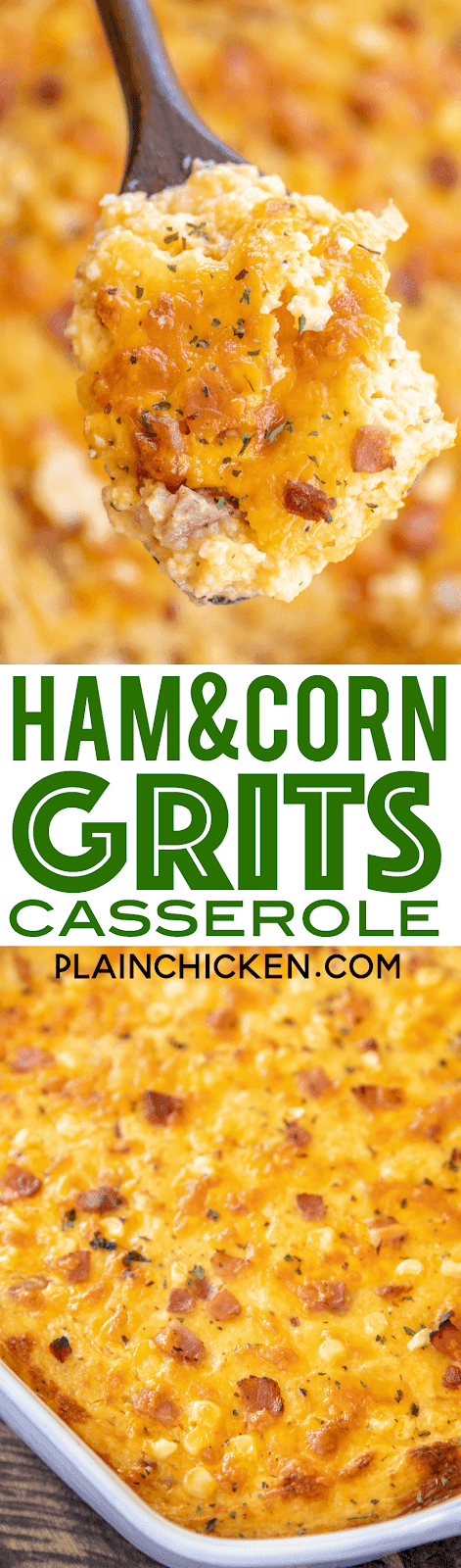 Ham and Corn Grits Casserole - seriously delicious! Great for breakfast, lunch or dinner!! Stone ground grits, chicken broth, ham, corn, cheddar cheese, milk, eggs, pepper and garlic. Can make ahead and refrigerate or freeze for later. Took this to a potluck and everyone asked for the recipe. DELICIOUS!!! #casserole #freezermeal #ham #breakfast #grits