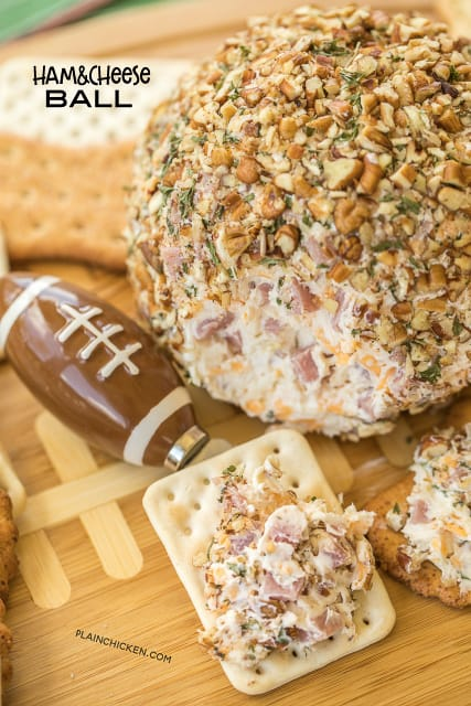 Ham and Cheese Ball recipe - dangerously delicious! Great for tailgating and holiday parties!! Ham, swiss, cheddar, cream cheese, dijon mustard, worcestershire, brown sugar and a little onion. I'm totally addicted to these flavors! Can make ahead and refrigerate until ready to serve #appetizer #hamrecipe #appetizerrecipe #tailgating #tailgatingrecipe #partyfood #cheese #cheeserecipe