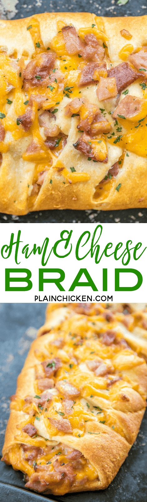 Ham & Cheese Braid - only 4 ingredients! Great way to use up leftover holiday ham. Ready in under 30 minutes. Everyone LOVES this easy stuffed bread recipe!!